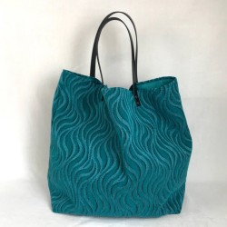 Velvet tote with turquoise...