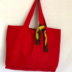 Red linen tote and wax lining