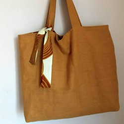Mustard washed linen tote...