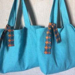 Cabas lin turquoise
