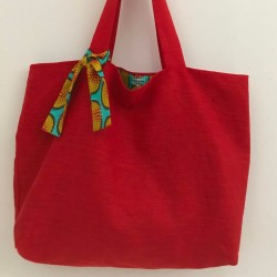 Red linen tote bag and wax...
