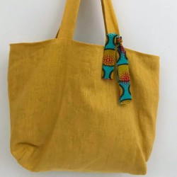 Yellow washed linen tote...
