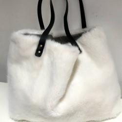 White faux fur tote