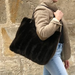 Brown faux fur tote