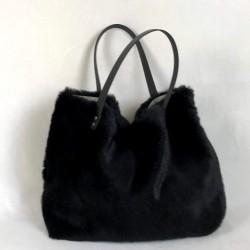 Black faux fur tote