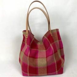 Pink tartan wool tote